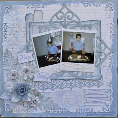 Happy Birthday Joseph By Tracey Sabella: Prima Flowers, Gesso, Polaroids, Punches, Art Philosophy, Flags, Birthday, Misting, Monochromatic, Shabby Chic, Mixed Media, Distressing, Inking, Stamping, Hand Crafted Leaves, Zva Pearl Flourish, Journaling