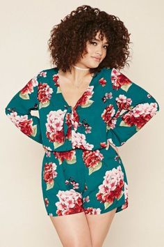 FOREVER 21 Plus Size Floral Chiffon Romper -- More info could be found at the i., FOREVER 21 Plus Size Floral Chiffon Romper -- More info could be found at the i. Plus Size Romper, Plus Size Jumpsuit, Plus Size Dresses, Plus Size Outfits, Curvy Girl Fashion, Plus Size Fashion, Moda Floral, Forever 21, Look Plus Size