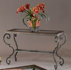 Giordino Sofa Table W Scroll Metal Frame Gl Top Faux Leather Border 500 Mirrored