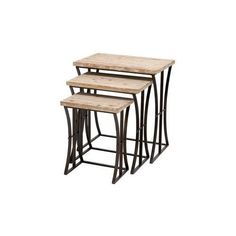 Metal Wood Nesting Table, Set Of 3