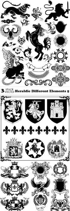 Геральдические элементы в векторе. Vectors - Heraldic Different Elements 5