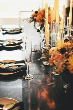 A festive fall tablescape with elegant candlesticks brings Halloween into your home without being over the top.