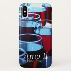 Stylish modern Red Wine Glasses image iPhone X Case - image gifts your image here cyo personalize