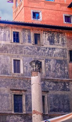 Rome Wall Art - - - - - Unknown how old these beautiful artworks are on the side of the building near Rome's Coliseum. #italy #rome
