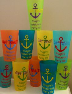 Get NAUTI Bachelorette Party Cups Nautical Theme by PYdesigned, $5.00 FoR YOUrS!