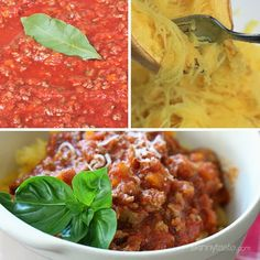 Spaghetti Squash with Meat Ragu is my go-to spaghetti squash meal! Roasted Spaghetti Squash topped with a simple-yet-delicious meat sauce simmered with tomatoes, onions, carrots and celery. It's so good, you won't miss the pasta! Skinny Recipes, Ww Recipes, Cooking Recipes, Healthy Recipes, Skinnytaste Recipes, Healthy Foods, Tasty Meals, Chicken Recipes