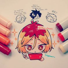 ---> COPIC MARKER CIAO AND SKETCH<--- (así o más claro?) Cuando Kenma se mete en su mundo, significa que lo perdimos~ #haikyuubyibu  Más Haikyuu!!! Los weones del nekoma me encantan XD en especial Kuroo, se me imagina que es bueno pal webeo XDDD (joda, bardo, molestar en mala) onda... Carrete, competencia de chocoron y acosar a uno que otro cabro del equipo(?) Aunque mi amor por karasuno quema con la intensidad de mil soles   En fin, entre otras noticias, me cagué el brazo jugando taiko…