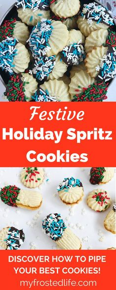 Festive Holiday Spritz Cookies – This easy recipe for classic butter cookies is perfect for a holiday party or cookie swap! Learn how to make these pipped bakery style cookies from scratch. With a hint of almond and lemon, these flavored cookies can be made into any shape and filled to make sandwich cookies. Often dipped in chocolate and covered in sprinkles, these cookies are a fun baking project that your kids will love! Learn how to make these simple homemade cookies that will make your…