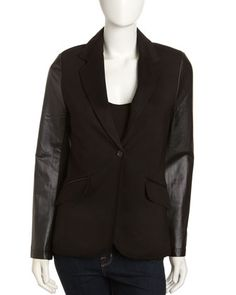 Leather-Sleeve One-Button Blazer, Black by Neiman Marcus