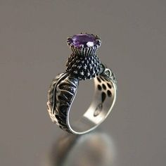 Stunning Scottish thistle ring with amethyst Jewelry Box, Jewelry Rings, Jewelry Accessories, Art Nouveau, Scottish Thistle, Schmuck Design, Bling Bling, Silver Rings, 925 Silver