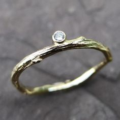 Diamond twig stackable ring $360