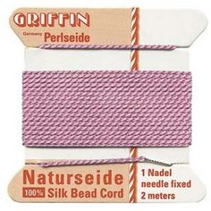 Supplies-Natural Silk Cord-Size 04 Griffin Thread-Attached Twisted Needle-Dark Pink-2 Meter-Quantity 1 Card