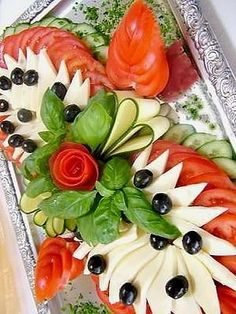 Cucumbers, tomatoes and cheese :)