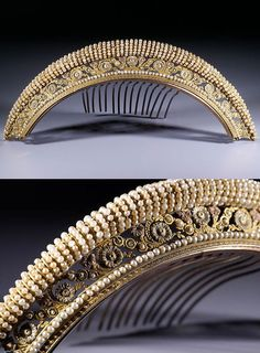 "French Empire diadem, width : 6 1/2 inch,  height : 1 inch, depth : 2 7/8 inch, Superb and rare Empire tiara adorned with four galleries. On a guilloche base, a string of pearls supporting a frieze of rosettes between which fit 3 small beads diagonals. This gallery has three particularly refined shades of gold. The whole is surmounted by a mini-pearl torsade blown glass. Including those of the teeth were sectioned ends carry a horse head punch called ""revolutionary punch."" Late 18th century"