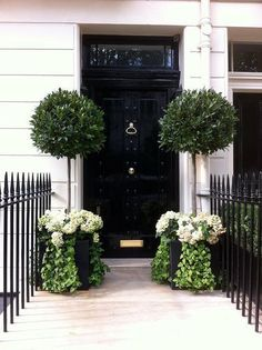 Training Your Flowering Shrubs to be Trees (and Major Garden Inspiration) Eingang The post Training Your Flowering Shrubs to be Trees (and Major Garden Inspiration) appeared first on Vorgarten ideen. Zinc Planters, Front Door Planters, Black Planters, Square Planters, Tree Planters, Black Front Doors, Front Entrances, House Entrance, Entrance Decor