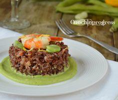 Riso+rosso+con+gamberoni+fave+e+limone Beef, Food, Meat, Essen, Meals, Yemek, Eten, Steak