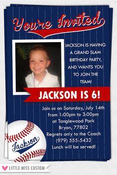 Printable Baseball Invitation by LittleMissCustom on Etsy, $10.00