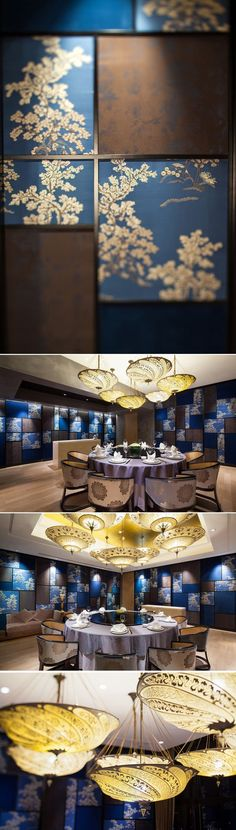 The VIP-room_Chinese fabric wall & Lighting Detail of Cantonese Fine Dining Restaurant Y2C2 by Kokaistudios: