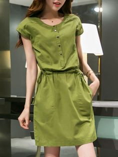 Cheap dress women, Buy Quality women dress directly from China dress women dress Suppliers: 2015 summer big yards long paragraph Slim stylish short-sleeved dress women Simple Dresses, Cute Dresses, Casual Dresses, Casual Outfits, Dresses With Sleeves, Hijab Fashion, Fashion Dresses, Hijab Stile, Petite Dresses