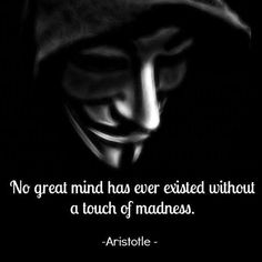 """No great mind has ever existed without a touch of madness"" -Aristotle"