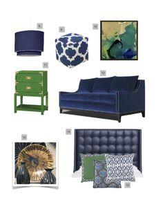 Blue Navy Green Living Room Furniture Upholstered Headboard Sofa