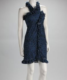 Take a look at this Indigo & Black Ruffle Sleeveless Dress by Samuel Dong on #zulily today! $24.99, regular 173.00