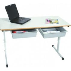 An ideal desk for classrooms where students are seated at the same desks all the time. Made with Melamine top and steel frame. Available in single or double height adjustable tables, with or without tote boxes. Student Chair, Adjustable Height Table, School Furniture, Steel Frame, Office Desk, Melbourne, Tables, Cabinet, Desks