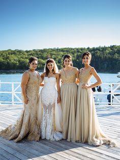 Beautiful dresses! Brides dress has a beautiful detachable train. Photo Credit: Julian Wainwright Photography
