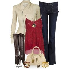 """""""Leather Jacket and Gucci Boots"""" by exxpress - Jean Flare Sud express Moda Outfits, New Outfits, Casual Outfits, Cute Outfits, Fashion Outfits, Womens Fashion, Night Outfits, Fall Winter Outfits, Autumn Winter Fashion"""
