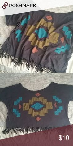 OFF-THE-SHOULDER TRIBAL FRINGE TOP Charcoal grey tee with tribal deco print. Wide neckline for an off-the-shoulder style fit.. bottom has fringe. Tag was removed with customization, was tagged size L. Will fit Sizes M-XL, depending on your preferred fit. Tops
