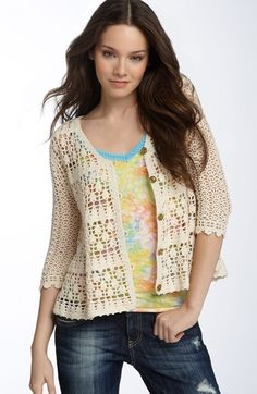 Free shipping and returns on Free People 'Hour Drop' Crochet Cardigan at Nordstrom.com. Button-and-loop closures line the front of an intricate, open-weave crocheted cardi with a swingy A-line shape.