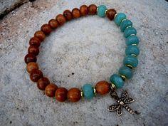 Wrist Mala / Yoga Bracelet / Dragonfly by Syrena56, $29