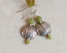 Green Garnet and Karen Hill Tribe Silver Earrings. by WahooDesigns, $27.00