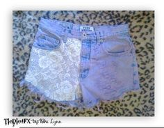 Womens Juniors Vintage High Waist Ombre Dip Dye Lace Shorts