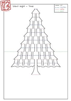 "DIY Template - ""Silent Night Christmas Tree Card"" Kirigami Pop-up paper sculpture"