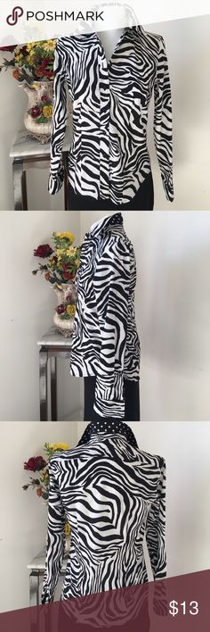 Jones New York Shirt Jones New York Zebra Print button down shirt. 100% Cotton. Length 24 in,  sleeve 23 3/4, armpit to armpit 19 inches. Jones New York Tops Button Down Shirts