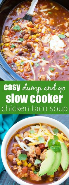 Dump and go (no chopping) easy slow cooker chicken taco soup recipe. A family favorite, made in your crock pot! | www.kristineskitc...