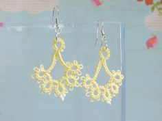 Light Yellow Lace Floret Earrings with White Glass Seed Beads and Silver Plated Earwires Lace Jewelry, Jewellery, Unique Jewelry, Yellow Lace, Seed Beads, Silver Plate, Crochet Earrings, Glass, Handmade Gifts