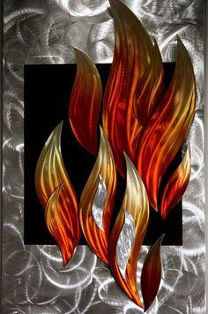 Metal Art Wilmos Kovacs Flames Fire by MetalSculptureLand on Etsy Metal Wall Sculpture, Modern Sculpture, Wall Sculptures, Metal Artwork, Metal Wall Art, Sheet Metal Art, Rainbow Decorations, Art Graphique, Metal Walls