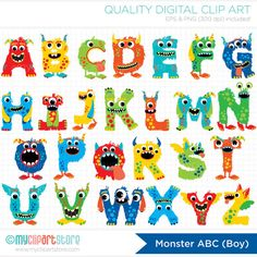 Monster ABC (Boy) / Alphabet Clip Art / Digital Clipart - Instant Download on Etsy, $3.00