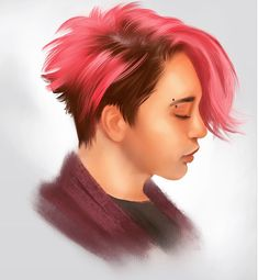 Portraits, Boys, Pink, Hair, Baby Boys, Hot Pink, Pink Hair, Sons, Portrait Paintings