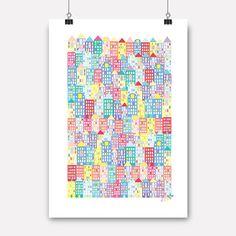 jubel, jubelshop, flamingo, plakat, poster, posterdesign, skyline, city, house, kidsdesign, kidsroom, nursery, childrensdesign, norwegiandesign