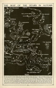 Vintage 1910 OLD AUTUMN STARS - Antique Star Map Astronomy Northern Constellations star chart star zodiac constellation map