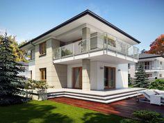 DOM.PL™ - Projekt domu TP Karat 4 CE - DOM TP2-29 - gotowy koszt budowy Simple House Design, Cool House Designs, Modern Family House, Duplex Design, Mediterranean Style Homes, Facade House, Home Fashion, Luxury Homes, Architecture Design