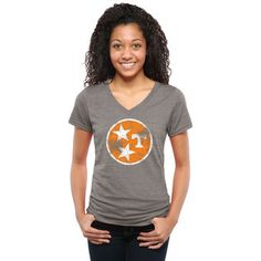 Tennessee Volunteers Women's Ash State Flag Tri-Blend V-Neck T-Shirt