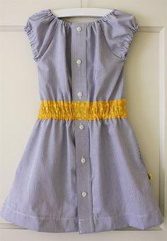 Little girl dress from Button down man's shirt.