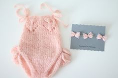 Made to order! Hand knitted newborn girl romper with ruffles of wonderfuly kid mohair yarn. This newborn romper is an adorable photographers