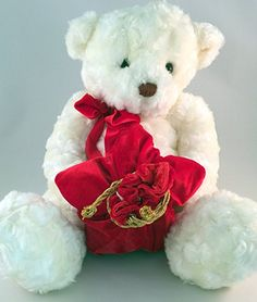 Gund 41595 -White Gift Giving Teddy Bear- Rare- Has Red Velvet Gift Bag. Perfect way to gift that jewelry or piece of candy to your valentine!
