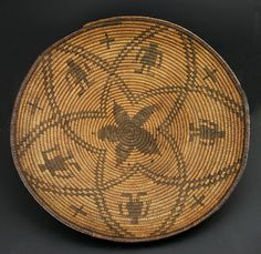 Apache Native American Indian Baskets - Apache Basket with Human Figures Crosses and Star Design