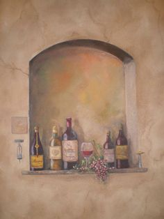 trompe l | Description: Wall Trompe L'oeil MuralWine Theme